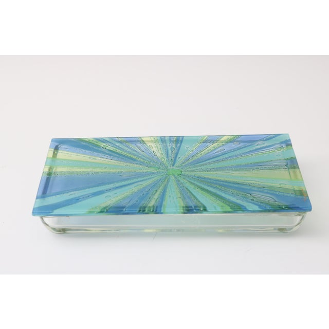 William Higgins artisan Glass Box with lid. Beautiful Clear, blue, green coloration