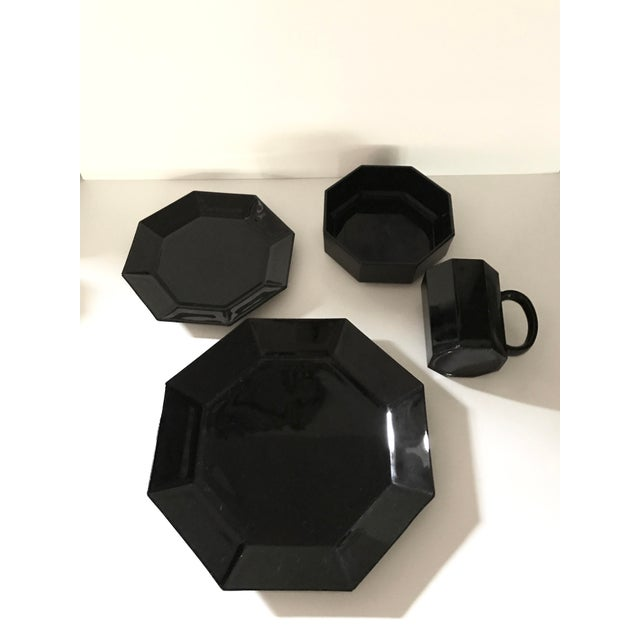 "Black, milk glass octagon, made in France, vintage dishes. Service for 4. Complete set includes: 4 dinner plates 11"" 4..."