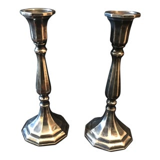 Late 20th Century Traditional Italian Silver Plate Candle Holders- A Pair For Sale