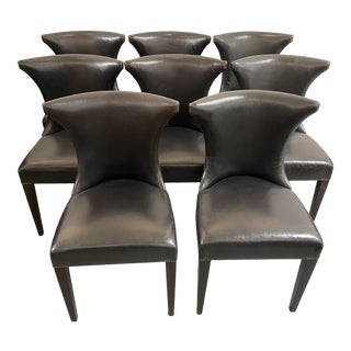 Custom Made Black Glove Leather Dining Chairs - Set of 8 For Sale