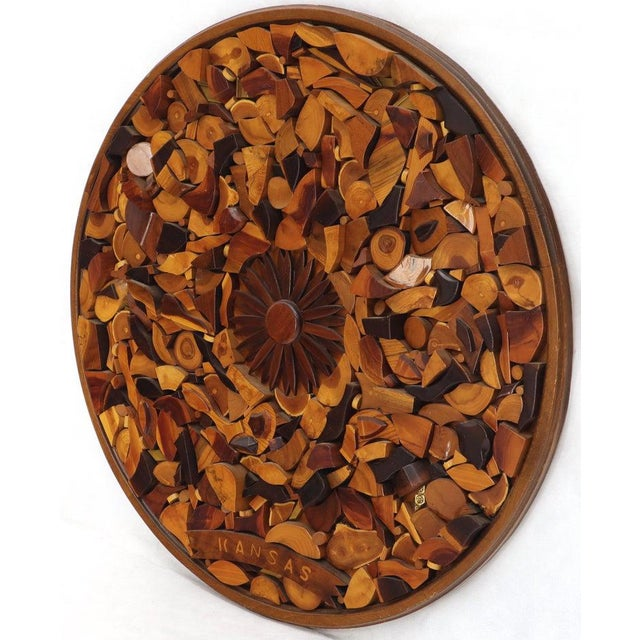 Brown Round Wooden Wall Plaque Sculpture Sunburst For Sale - Image 8 of 8