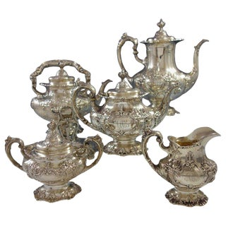 Francis I by Reed & Barton Sterling Silver Tea Set 5-Piece With Kettle on Stand For Sale