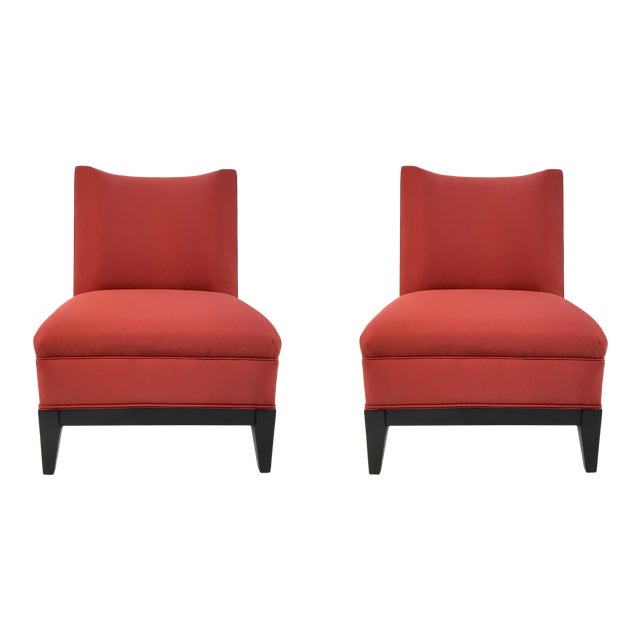 Drexel Heritage Modern Rachelle Red Satin Chairs Pair For Sale
