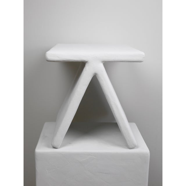 Not Yet Made - Made To Order The Elsa Geometric Plaster Accent Table For Sale - Image 5 of 5