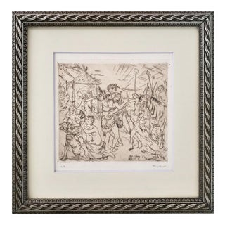 Vintage Neoclassical Etching of an Embrace by Hassler For Sale