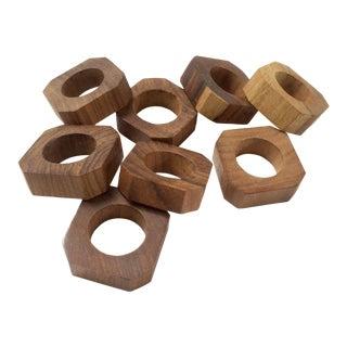 Teak Wood Square Napkin Rings - Set of 8 For Sale