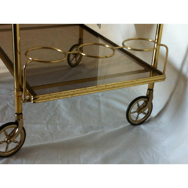 Maison Jansen Italian Brass Bar Cart - Image 5 of 6