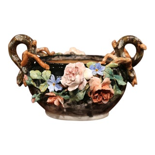 19th Century Hand-Painted Barbotine Jardiniere with Flowers from Montigny