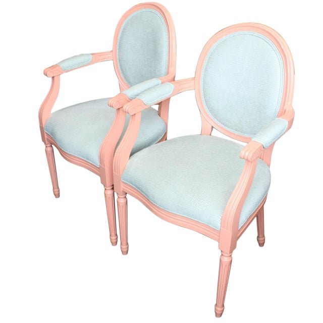 Louis XVI Vintage Painted Louis XVI Style Arm Chairs, Pair For Sale - Image 3 of 11