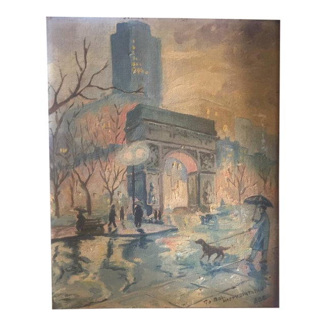 Mid 20th Century Landscape Painting of Washington Square Park in the Rain For Sale