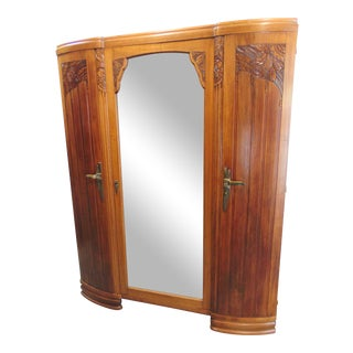 French Art Deco Carved Walnut 3 Door Armoire For Sale