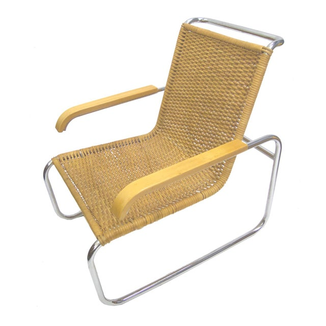 Marcel Breuer B 35 Lounge Chair for Thonet in Chrome and Woven Rattan - Image 3 of 6