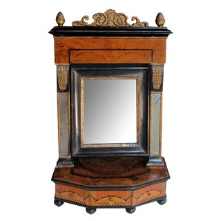 A rare and richly-patinated Italian burl walnut 3-drawer dressing mirror For Sale