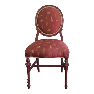 Newly Upholstered Safari Silk Round-Back Side Chair For Sale
