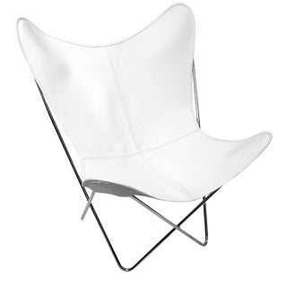 White Leather Butterfly Chair For Sale