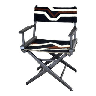 Vintage Needlepoint Director's Chair Folding Black Brown White Geometric For Sale