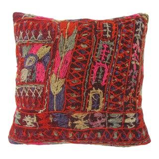 Turkish Embroidered Vintage Arabi Kilim Pillow For Sale