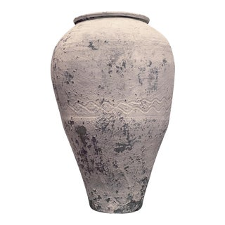 Large Antique Whitewashed Terra Cotta Olive Pot For Sale