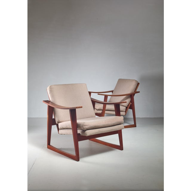 Pair of Danish teak lounge chairs, 1960s For Sale - Image 4 of 4