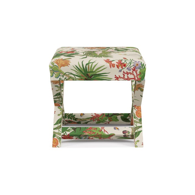 Traditional X Bench In White Cinque Terra By Old World Weavers For Sale - Image 3 of 7