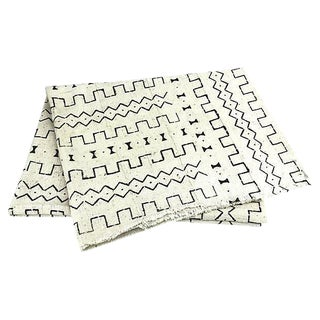 African White/Black Mud Cloth Throw For Sale