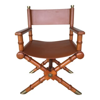 Faux Bamboo Leather Directors Chair With Brass Accents