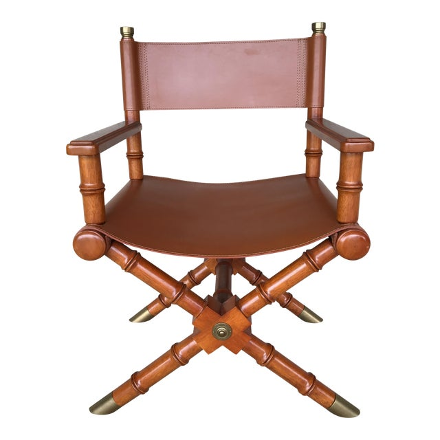 Faux Bamboo Leather Directors Chair With Brass Accents For Sale