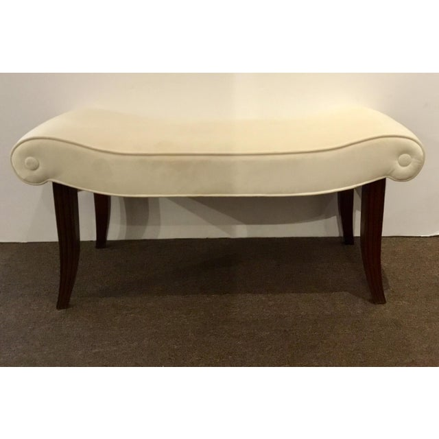 2010s Transitional Hickory Chair White Velvet Calla Bench For Sale - Image 5 of 5
