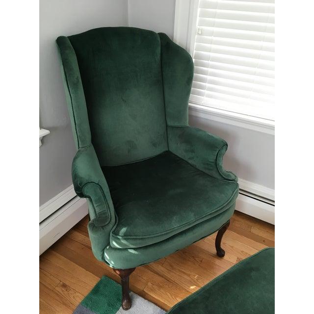 Green Velvet Wingback Chair & Ottoman - Image 3 of 8