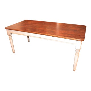 Fantastic 20th Century Handmade and White Painted Base Harvest Table For Sale
