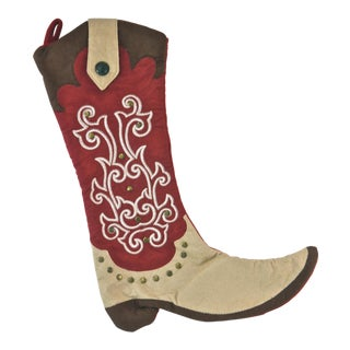 Red & Brown Scroll Boot Stocking