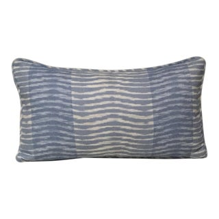Transitional Thibaut Wavelet in Aqua Blue Linen Pillow - 14x24, With Down/Feather Pillow Insert For Sale