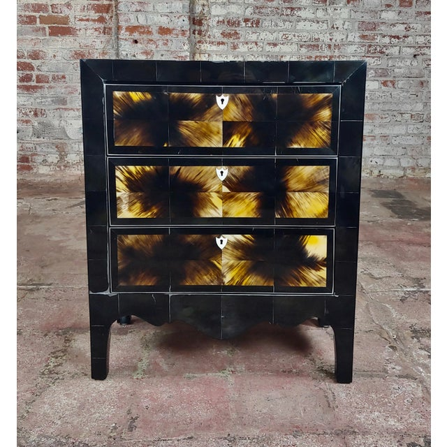 """Bull Horn veneer & black lacquer beautiful 3 draws Commode size 30 x 18 x 32"""" A beautiful piece that will add to your décor!"""
