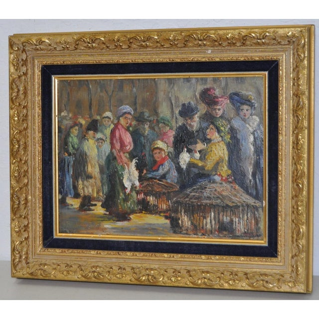 Impressionist European Market Scene Oil Painting - Image 4 of 9