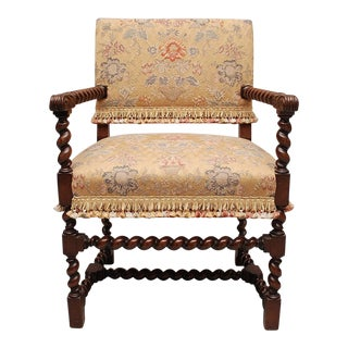 Charming Antique Mahogany Barley Twist Chair For Sale