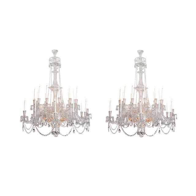 A Pair of Large Scale Majestic 24-Light Cut-Crystal Chandeliers For Sale - Image 12 of 12
