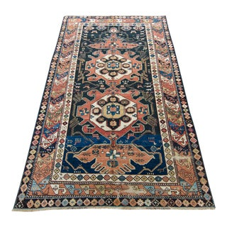 1880s Antique Quba Handwoven Geometric Animal Pattern Wool Pile Rug - 4′1″ × 6′11″ For Sale