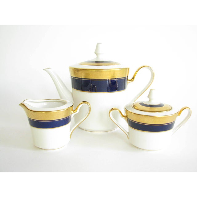 Vintage Noritake Cobalt and Gold Encrusted Band Tea Set - 21 Pieces For Sale - Image 10 of 13