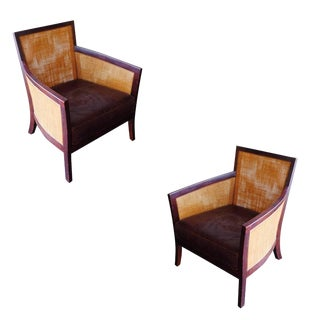 Contemporary Dark-Stained Wicker Lounge Chair For Sale