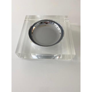 1970's Large Square Lucite and Chrome Catchall For Sale
