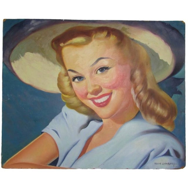 '1940s Girl Next Door' Oil Painting For Sale - Image 4 of 7