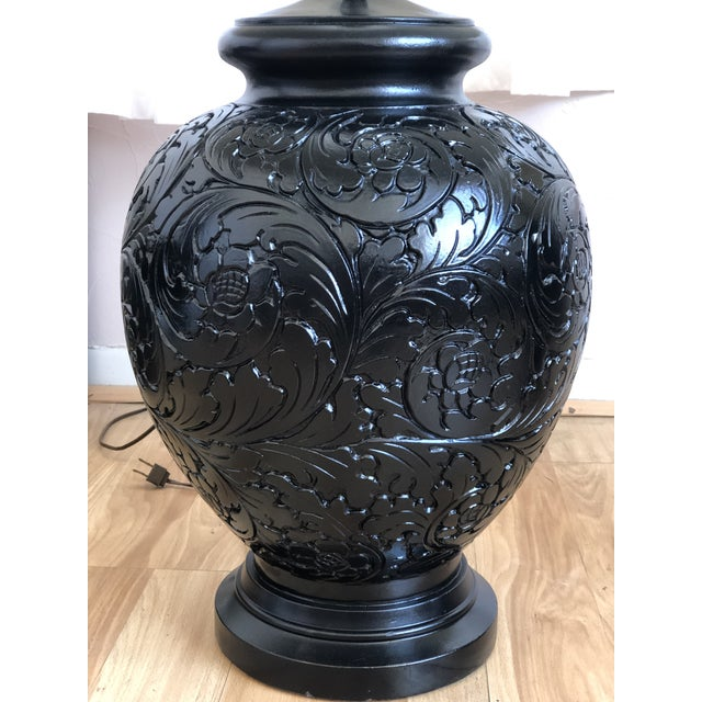 Stunning Pair of Gloss Black, Round Table Lamps With Carved Relief Design For Sale - Image 10 of 11