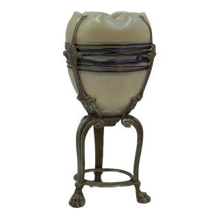 1900 Loetz Glass Pearl and Purple Threaded Egg Shape Vase on Integral Stand For Sale