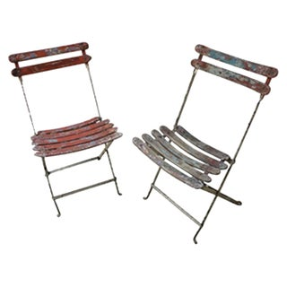 Antique French Iron and Wood Folding Chairs For Sale