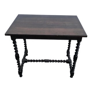 Antique Flame English Barley Twist Table Desk For Sale