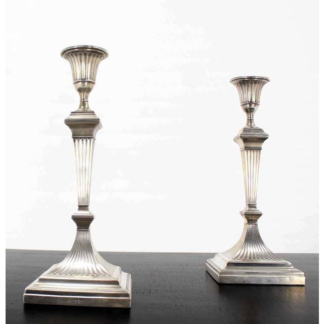 Pair of Square Base Art Deco Sterling Candle Sticks For Sale In New York - Image 6 of 8