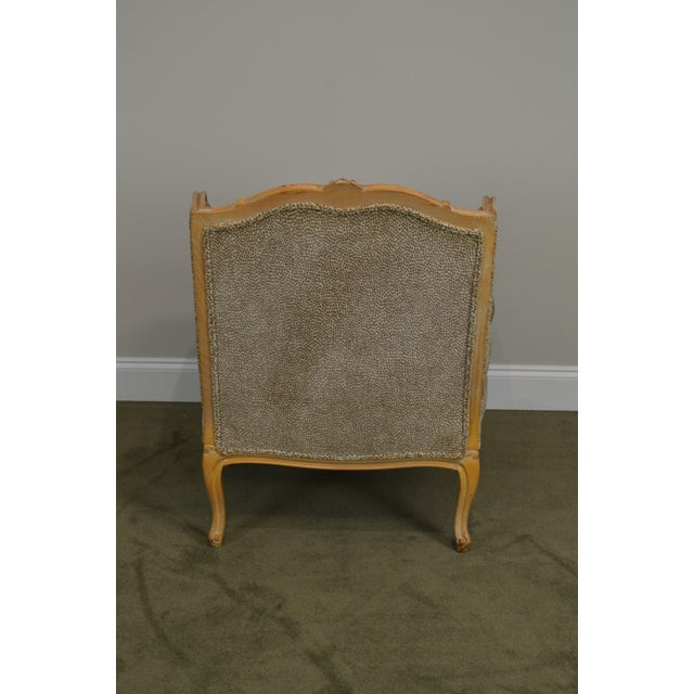 Wood French Louis XV Style Custom Upholstered Wide Seat Bergere Chair With Ottoman For Sale - Image 7 of 13