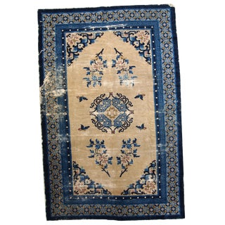 1880s Hand Made Antique Peking Chinese Rug - 4′2″ × 6′3″ For Sale