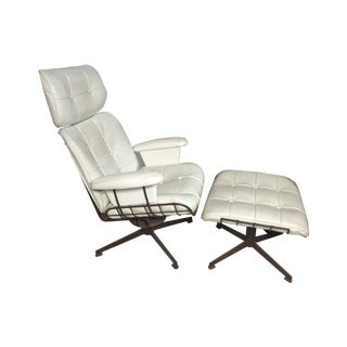 Eames Era White Leather Lounge Chair For Sale