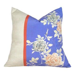 Coral Rose Garden Japanese Silk Kimono Pillow Cover For Sale